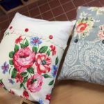 Upcycled cushions at Ashdale house