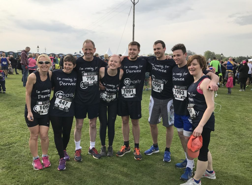 The Derwen half marathon team - including Dean, Joshua and Adam from We Are Promotional Products