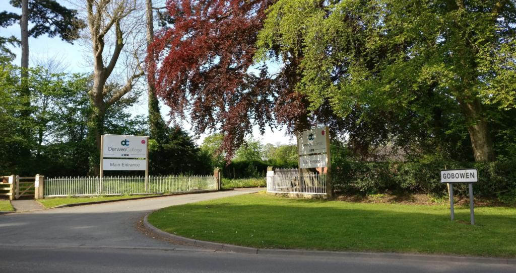 Find us: Picture of Derwen College main entrance on Whittington Road in Gobowen