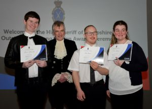 Derwen College students presented with High Sheriff Outstanding Young Citizen awards by High Sheriff Dr Josh Dixey.