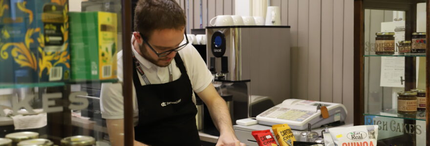 Hospitality and Food student preparing a drink at the Station Cafe