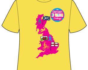 Derwen Sponsored Walk Easter Challenge yellow t-shirt,