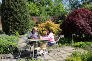 Customers sitting in the Walled Garden