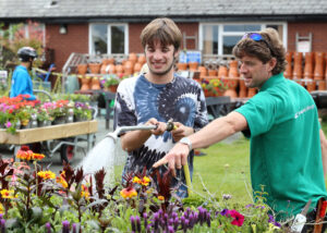 Horticulture student working in the Garden Centre