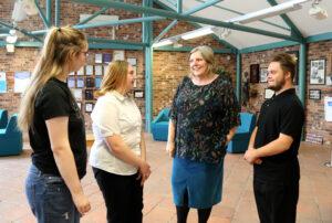 Principal Meryl Green talks to students at Gobowen site